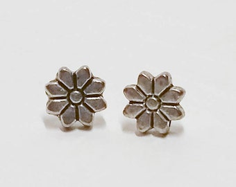 Tiny Silver Flowers, Earrings, Studs, 10mm