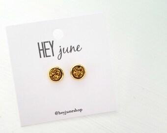 Druzy stud earrings, gold druzy earrings, white druzy earrings, small druzy stud earrings, silver druzy stud earrings