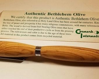Genuine Bethlehem Olivewood Black titanium slimline pen