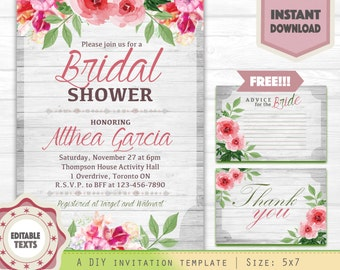Bridal Shower Invitation Grey and Pink