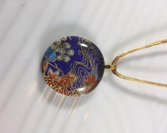Purple Japanese Chiyogami and Glass Pendant