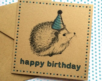 Hedgehog Birthday Card, woodland illustration with party hat, unique happy birthday card for hedgehog lover, ideal card for nephew, friend