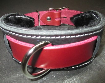 Claret/Black Leather Fur Lined Locking Heavy Duty Slave Collar with D ring Front