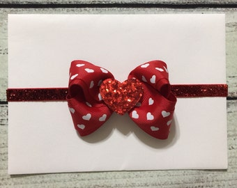 Valentines day Headband Red Valentine Headband Heart Headband Baby Headband Red Boutique Bow  Headband Valentine Hair Bow