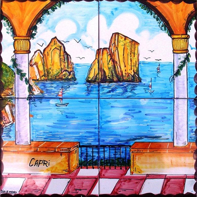 Ceramiche Musa Hand Painted Floor And Tiles Made In Italy: Capri Italy Faraglioni Rocks Of Capri Blue Sea Painting