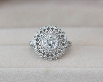 6.5mm Round Moissanite Engagement Ring