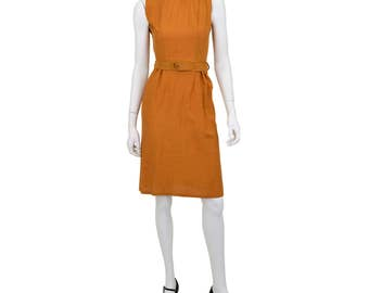 1950's Vintage Women's 00 or 2XS Burnt Orange Cambric Pencil Dress Sheath Dress