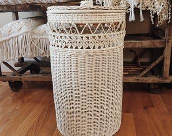 Vintage round white wicker hamper basket, tall vintage wicker basket
