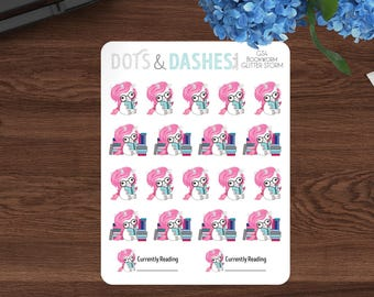 Teeny Tiny Bookworm Glitter Storm, bookworm unicorn, itty bitty stickers, unicorn planner stickers, currently ready stickers,-GS4-T