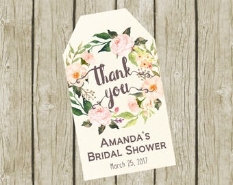 Thank You Tags Printable. Custom Bridal Shower Thank You Tags. Thank You Tags Bridal Shower. Thank You Tags for Wedding. Thank you Favors.