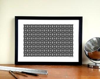 "Fulham FC A3 Minimalist Graphic Design Art Print - Craven Cottage ""Balcony"""