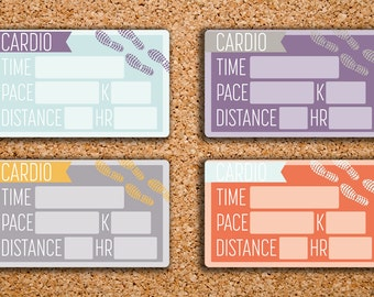 18 Solid Cardio Tracker Half Boxes (Fitness, Running Shoe, Workout, & Step) Planner Stickers for 2017 Inkwell Press IWP-HS51