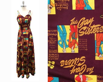 1970s Novelty Print Polyester Maxi Dress The Gay Sisters