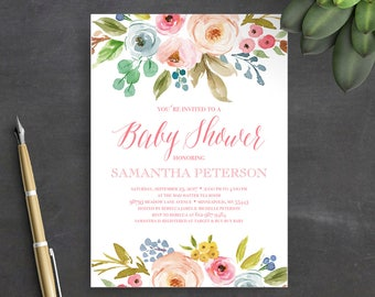 Printable Baby Shower Invitation Template, Instant Download, Baby Shower Invitation, Floral, Watercolor, Boho, Baby Shower Invites