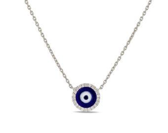Diamond and enameleveil eye necklace