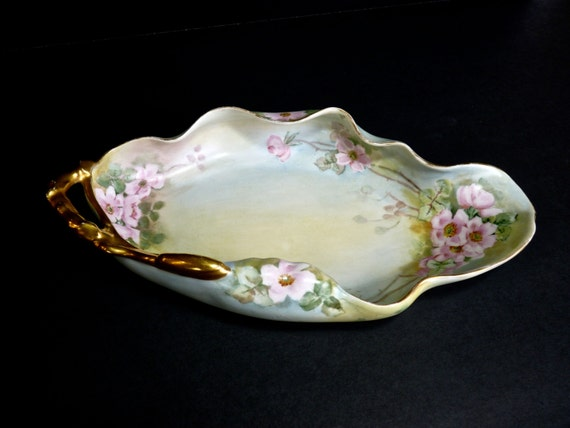LIMOGES FRANCE PORCELAIN ~ Hand Painted Tray With  24k Gold Gilded Handle ~ Circa 1908 ~ Candy Dish ~ Table Decor ~ Bedside Table Decor