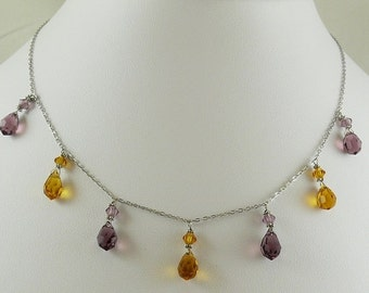 "Crystal Necklace 14k White Gold 18"" Long"