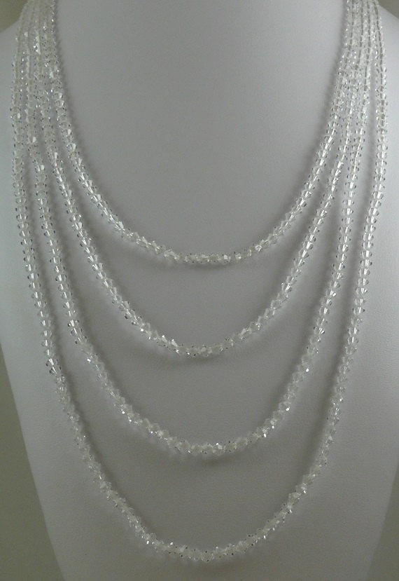 Clear Czech Crystal Necklace 100 Inches Long with Silver Lock