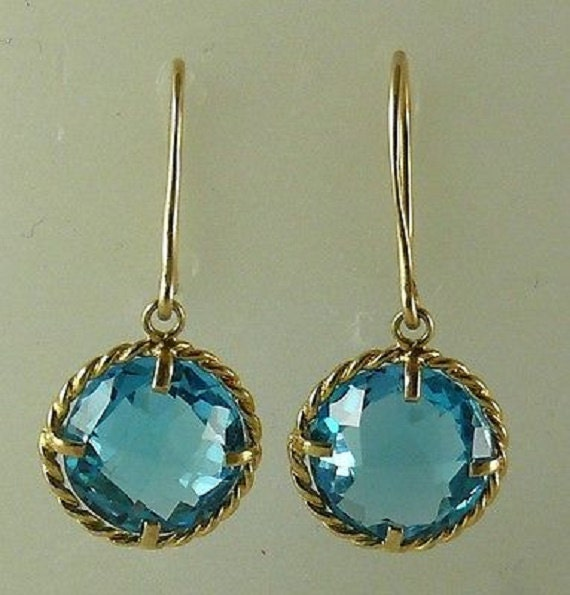 Blue Topaz 9.02ct Earring 14k Yellow Gold
