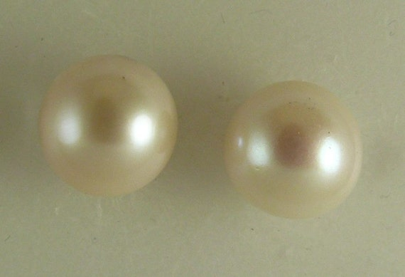 Freshwater White 12 mm Pearl Stud Earrings,14k Yellow Gold Post and Push Backs