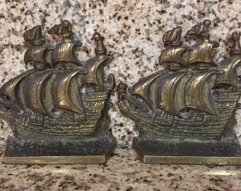 Pair Brass Ship Bookends
