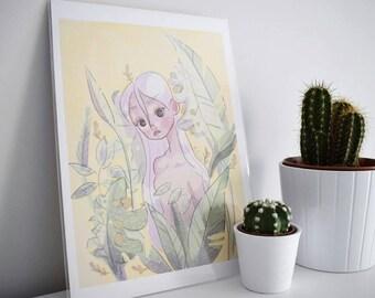 Palm girl print, cute print, nude print, tropical print