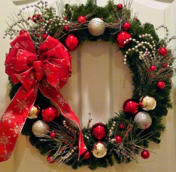Christmas Wreaths Ornament Wreath Wreath With Red Bow Ball
