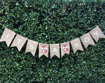 """Woodland Themed Baby Shower Hessian Bunting - """"IT'S A BOY"""" with Hand Stencilled Foxes"""