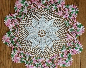 "14"" Round Pink and Green Hand Crocheted Doily with Scalloped Edge"