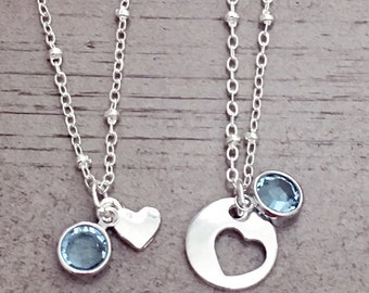 mother daughter/mother daughter necklace/big sister little sister/mother's day/grandma/sisters/birthstone/grandmother/bff/mom birthday
