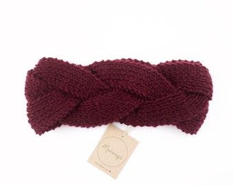 Braided headband knitted Merino Wool, Burgundy colors