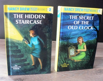 Vintage Nancy Drew Book Pair - The Hidden Staircase and the Secret of the Old Clock -  Vintage - Youth Mystery Books