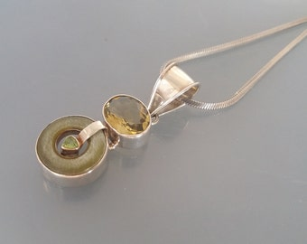 Jade Peridot Lemon Quartz  Pendant Necklace Sterling Silver 925 Green Yellow Gemstone Vintage Ethnic Handmade Uk
