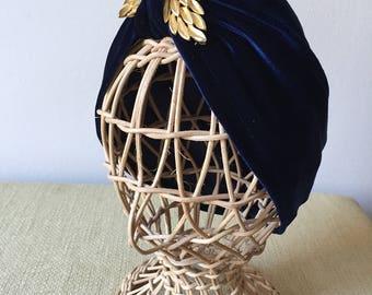 Hand made velvet turban.