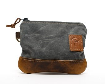 Waxed Canvas Zippered Golf Valuables Field Pouch in  Charcoal Gray  personalized monogrammed