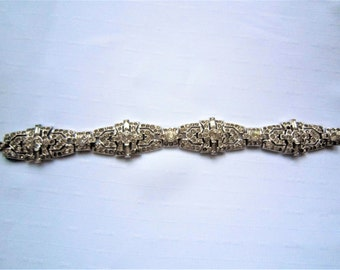Vintage KTF Trifari 'Alfred Philippe' Pave and Baguettes Deco Square Linked Bosses Bracelet, 1935