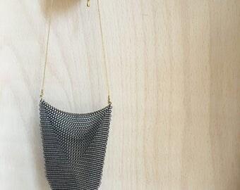 Mesh black chainmail bib collar