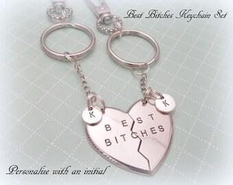 Best Bitches Keychain, Gift for Best Friend, Gift for Best Bitches, Best Friends Keychain Set, Initial Keychain, Gifts for Her, Friend Gift