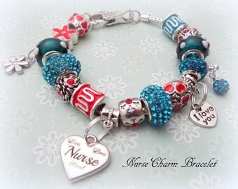 Gift for Nurse, Nurse Gift Charm Bracelet, Gift for RN, RN Gift, Birthday Gift for Nurse. Murano Bead Bracelet, Gift for Registered Nurse