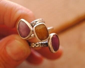 Custom Sapphire Ring   Sterling Silver
