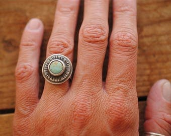 Stamped Turquoise Ring | Size 6
