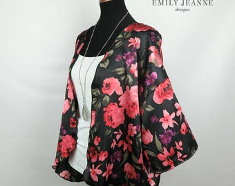 """Hip-length elegant floral silk kimono - black with red, pink, purple, and green flowers - 25.5"""" length from neckline to lower back hem"""