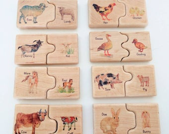 Farm mother and baby self correcting puzzle, wooden puzzle, farm puzzle