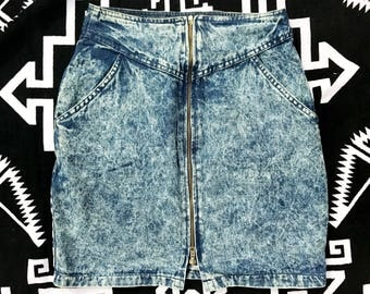 Vintage Denim Skirt Acid Washed front zipper skirt womens skirt womens clothing retro clothing