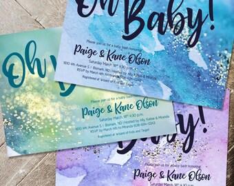 "Custom Baby Shower Invitation, ""Oh Baby!"" shower Invite, Glitter & Watercolor oh baby invitation, Gender Neutral Shower Invite, Printable"