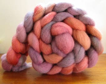 Romney wool roving dyed by hand 164 gr