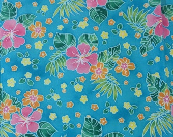 Hibiscus Flowers Cotton Fabric By The Yard