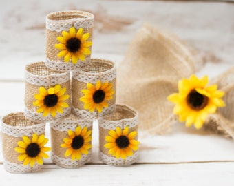 Beach Wedding Napkin Rings Sunflower Burlap Nautical Burlap Wedding Table decor Nautical Bridal shower Beach themed party decor Jute ring