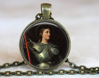 Saint Joan of Arc Pendant in antique gold with a 24 inch chain - Catholic Jewelry Gift