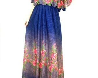 Vintage Maxi Dress - Floral Maxi Dress - 80s Maxi Dress